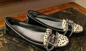 Shoes - Black Patent Loafers with Animal Print Detail